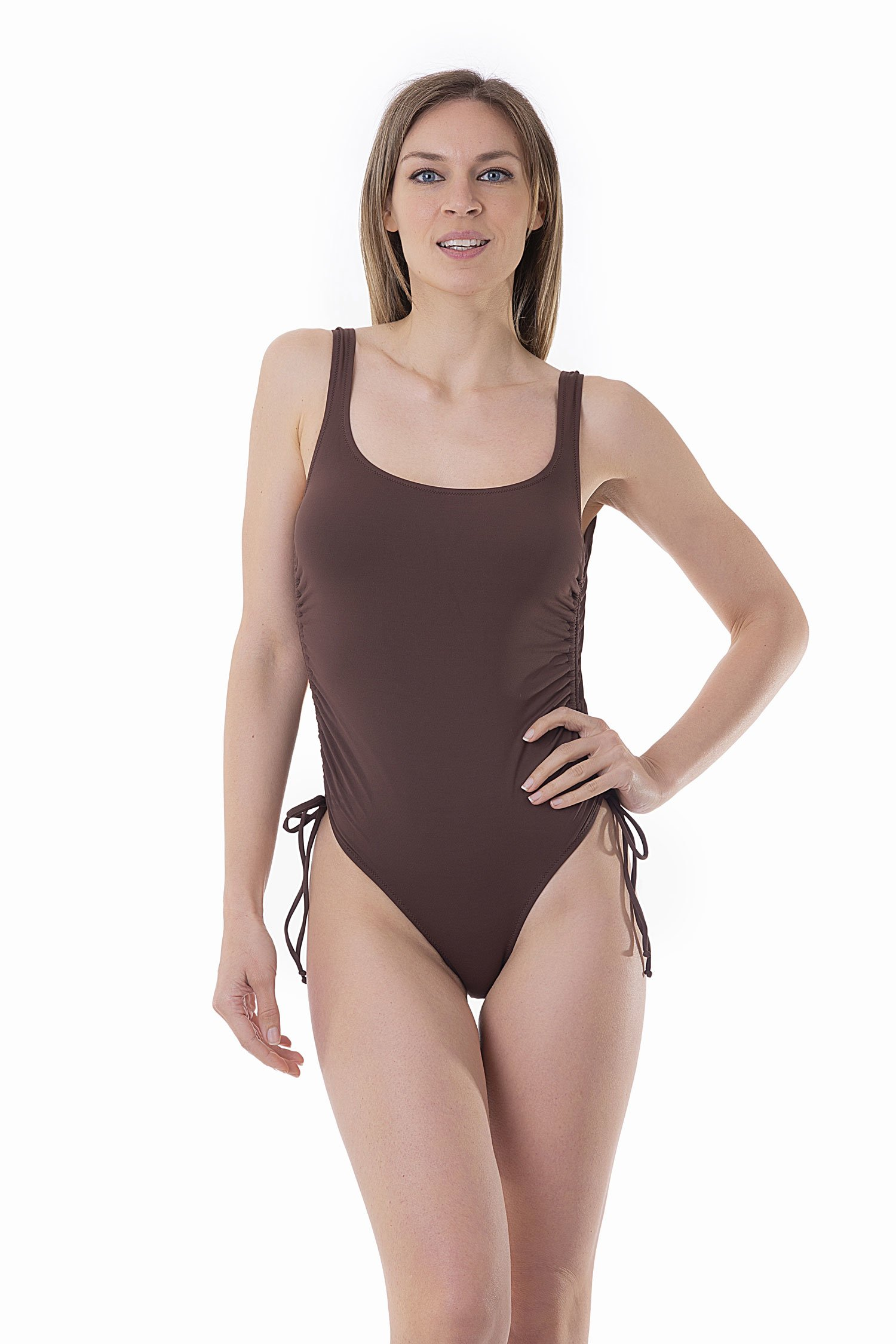 SOLID COLOUR ONE-PIECE WITH DRAWSTRING - Marrone Sacher