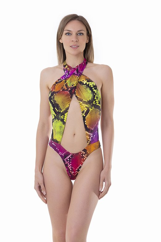 PRINTED FRONT WRAP ONE PIECE