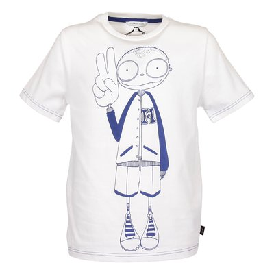 T-shirt bianca in jersey di cotone con Iconica stampa