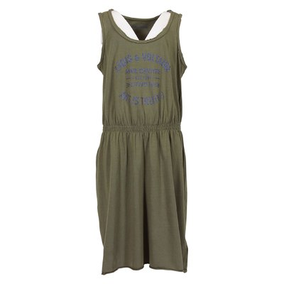 Military green cotton jersey dress