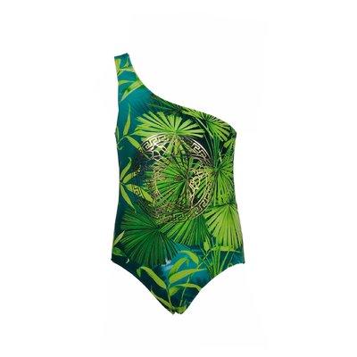 Kids' jungle print Medusa detail one-piece swimsuit