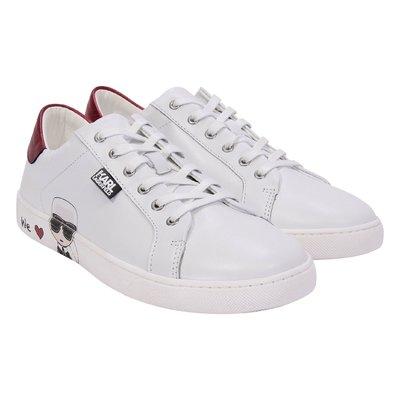White logo detail leather sneakers