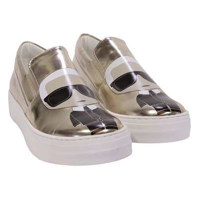 Sneakers oro Karl in simil pelle
